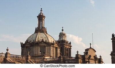 time-lapse of the main cathedral in mexico city, (located on...