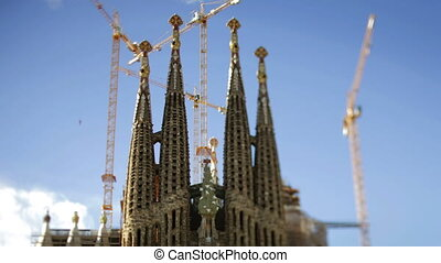 time-lapse of the ongoing construction work on the famous and iconic sagrada familia, barcelona, spain