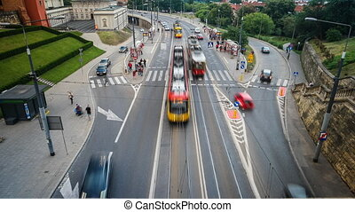 time lapse of the road in Warsaw