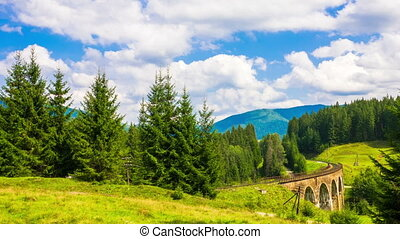 Summer Mountain Landscape with the Train - Time Lapse of the...