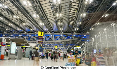 Time Lapse of Tourists in Suvarnabhumi Airport - Bangkok, ...