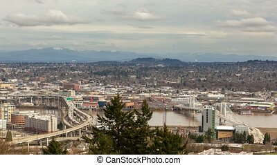 Time lapse of traffic and clouds in Portland OR one winter day