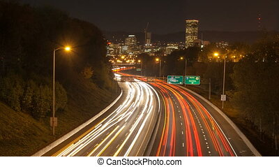 Time Lapse of Traffic Light Trails on Interstate 84 Banfield...