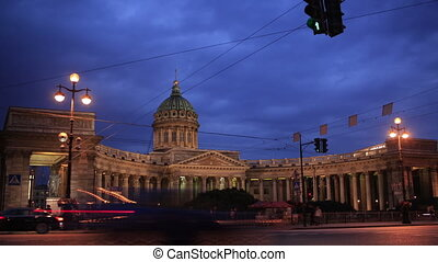 Time lapse  of traffic near Kazan Cathedral.