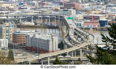 Time lapse of traffic on Marquam bridge in Portland OR along...