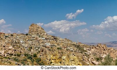 Time lapse of Uchisar Castle in Cappadocia, Turkey