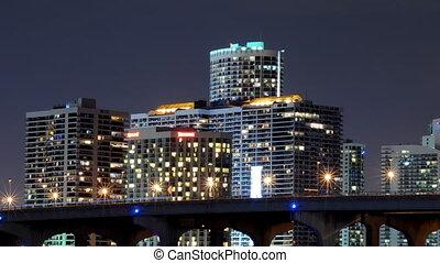 Time lapse of urban scene at night