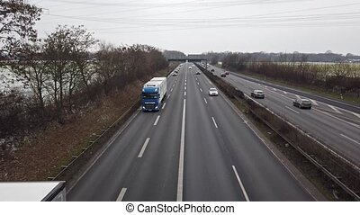 Time lapse of vehicles driving on the A57 motorway in...