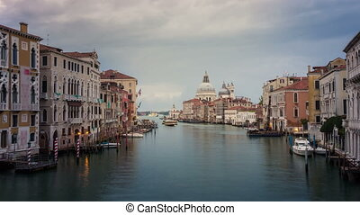 Time lapse of Venice Grand Canal skyline in Italy . As ...