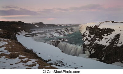 Time lapse of waterfall Gullfoss, Iceland, 4K - Time lapse...