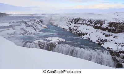Time lapse of waterfall Gullfoss