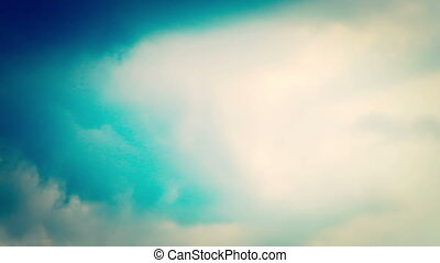 Time lapse of white clouds chaos move on sky with good...