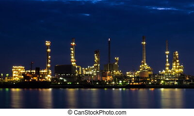 Oil Refinery Station Night To Day