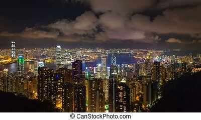 Time lapse over city of Hong Kong 4 - Time lapse movie of...