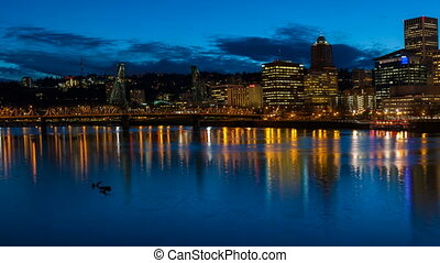 Time Lapse Over City of Portland OR
