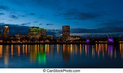 Time lapse over Portland OR at night 4k uhd movie