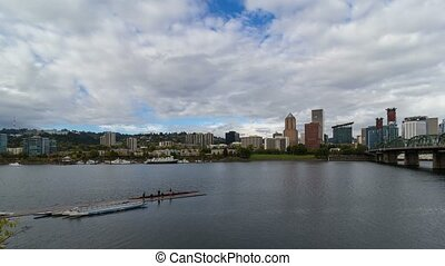 Time lapse over Portland Oregon 4k - Time lapse movie of...