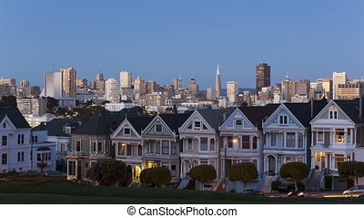 Time lapse Painted Ladies San Franc - Time lapse sunset of...
