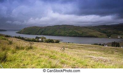 Time Lapse, Pan Along Loch Harport, Scotland