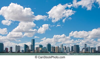 Time lapse pan of Miami Skyline