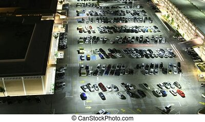 Time lapse parking lot at shopping mall on Oahu, Honolulu, Hawaii