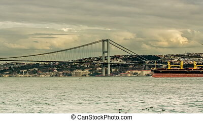 Bosphorus Bridge at Istanbul - Time Lapse Photography clouds...