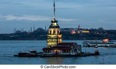 Maiden Tower at blue hours - Time Lapse Photography, cloudy...
