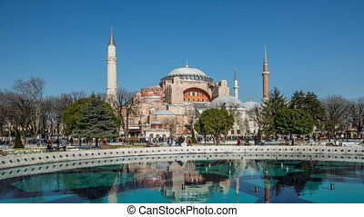 Time Lapse Photography, crowd visiting Hagia Sophia at Istanbul Turkey, Photo Sequence shot in RAW, dolly shot