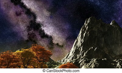 Time lapse purple night sky stars