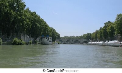 ride on Tiber River under many archways in Rome - Time lapse...