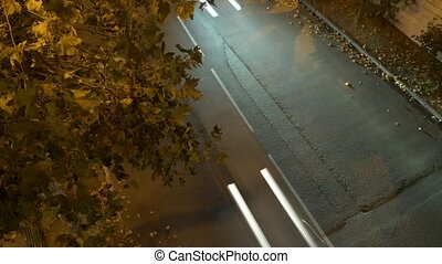 time lapse. road at night, view from above. 4k