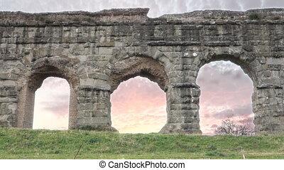 aqueduct -  Time lapse Roman aqueducts ruins in Rome, Italy
