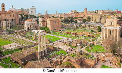 Time lapse Roman Forum - Time lapse with zoom on a scenic...