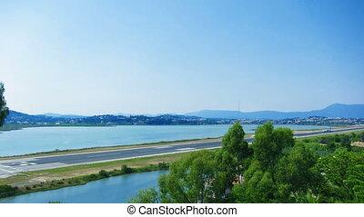 Time lapse: runway of Corfu airport