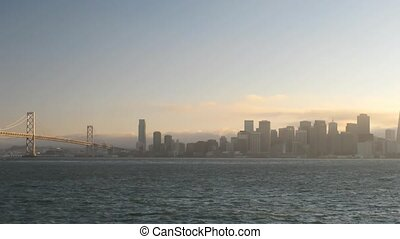 Time lapse San Francisco at sunset (pan movement)