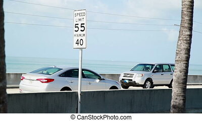 Time Lapse seven mile bridge cars