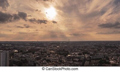 Time Lapse shot of Panoramic view on Berlin from 37th floor at sunset