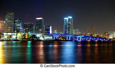 Time lapse shot of the colorful Miami Skyline at night - Miami Timelapse 4k - MIAMI, FLORIDA - APRIL 10, 2016