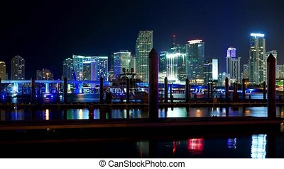Time lapse shot of the colorful Miami Skyline at night