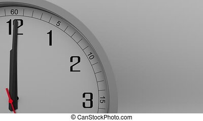 Time lapse shot of the gray clock measuring off 10 minutes interval. 4K footage