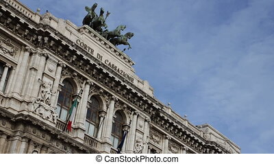 Palace of Justice in Rome, Italy - Time-lapse shot of the...