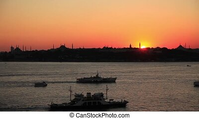time lapse silhouette at istanbul - silhouette blue mosque,...