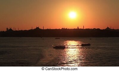 time lapse silhouette at istanbul