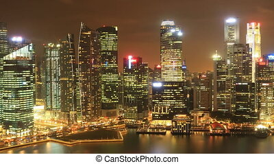 Time Lapse Singapore Skyline at Night. View to Financial /...