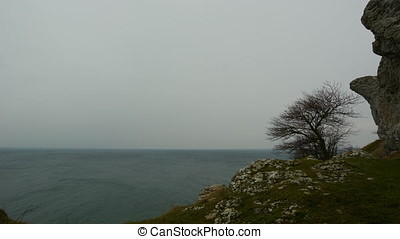 Time Lapse, Snow clouds rolling in over ocean