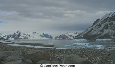 Time lapse Stonington Island in Antarctica. Icebergs,...