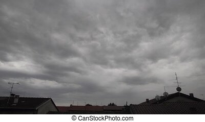 time lapse , stormy weather and rolling clouds