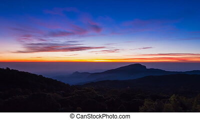 Time Lapse Sunrise On Valley