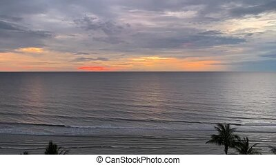 Time Lapse sunrise over tropical island beach in Thailand. -...