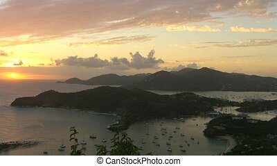 Time Lapse Sunset over English Harbor, Antigua, Caribbean